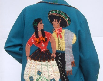 1950s Pictoral Embroidered Applique Wool Jacket