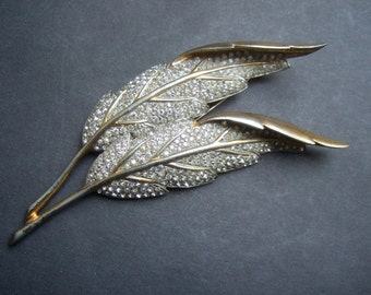 Opulent Gilt Metal Pave Crystal Leaf Brooch c 1960