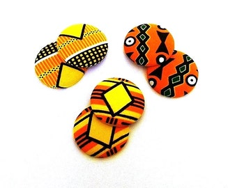 Button Fab - Traditional Multi-Color African Kente Print Fabric Buttons (XLarge and Large)