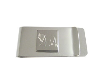 Engraved Left Facing Lion Money Clip