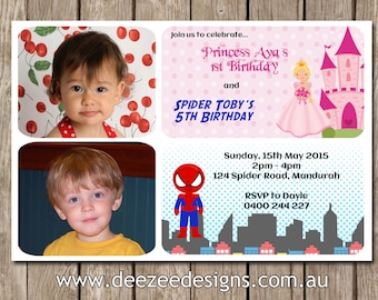 Princess & Spiderman Photo Personalised Birthday Invitations - YOU PRINT