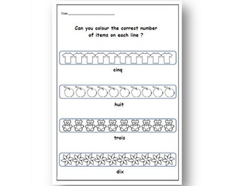 FRENCH NUMBERS WORKSHEET With Colouring Activity,School Supplies Printable Exercises,Learn French Numbers ,Counting & Colouring Activity