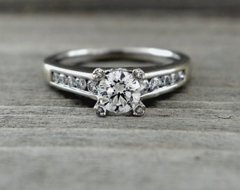3/4 Carat Diamond Solitaire Engagement Ring 14kt White Gold Ring