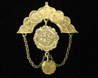 "SALE Gold Filled Victorian 3-Tier Festoon Brooch Pendant with Engraved Foliate Design.  T-Bar Pin Arm & C-Clasp.  1-11/16"" L x 1-7/16"" W."