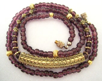 "SALE Ruby Glass Beads & Gold Plated Metal Vintage Necklace c.1970-1980.  21.5"" L."
