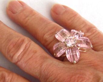 SALE Sterling & Pink Rhinestone Ring. Flower Design Vintage Silver Ring. 5 Cross Cut Crystal Rhinestones. Center Stone 7 mm Round.  Sz .7.25