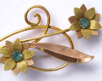 SALE 12 K Rose & Yellow Gold Filled VAN DELL Floral Spray Brooch with 2 Aqua Rhinestones.  Mid Century Vintage.