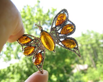 SALE Sterling & Baltic Amber Butterfly Brooch With Rope Twist Outlines and Scalloped Edge Settings in this Fine Vintage Silver Piece.