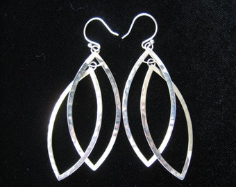 SILPADA  Sterling retired Marquise Hammered Double Drop Earrings.  Vintage.