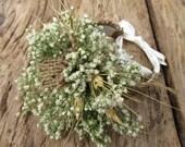 Simple Summer Wheat Corsage - Dried Wedding Wrist Corsage - Wheat & Baby's Breath