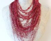 Crocheted Red Silk Fiber and Leather Necklace
