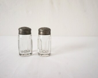 Pair of Vintage Heavy Glass and Pewter Salt and Pepper Shakers Antique Kitchen Decor