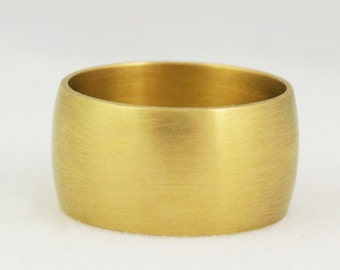 10mm Extra Wide Cigar Band Wedding Ring - Solid Gold Heavy Ring - Mens Womens Unisex - 14k 18k 22k - 5 - 8.25