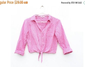 10,000 LIKES 7 Day Sale 90s Cowgirl Gingham Checked Tie Up Midriff Long Sleeve Shirt / Festival Crop Top