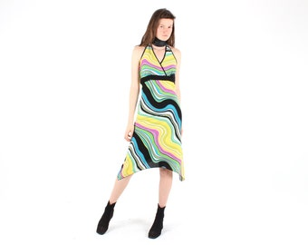 SALE - 90s Psychedelic Optical Illusion Pop Art Bright Painterly Rainbow Halter Neck Club Kid Tank Midi Dress