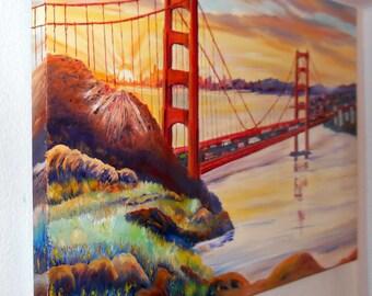 Golden Gate Sunrise, San Francisco Bay, Golden Gate Bridge, California, Souvenir Art, Dan Leasure Oil, Large Art, 40 x 25 in,  March 2016