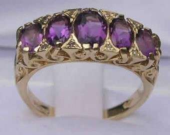 9K Yellow Gold Amethyst with Eight Diamonds Large Eternity Ring, Scroll Carving English Vintage Design Ring -  Customizable