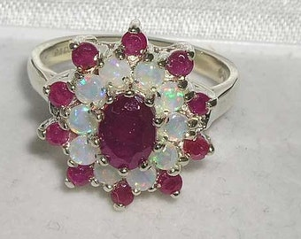 Solid 925 Sterling Silver Natural Ruby & Colorful Opal 3 Tier Cluster Flower Ring, English Vintage Design Ring - Customizable