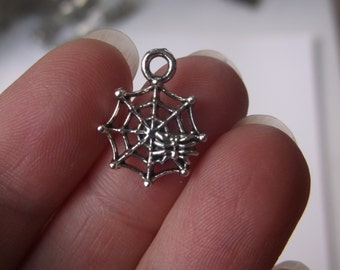 lot of 12 silver Spider web with spiders charms, spider webs, spiders, Halloween charms