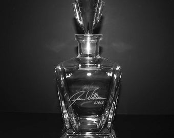 Custom Engraved Crystal Whiskey Decanter w/ Signature