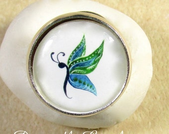 Butterfly Ring -  Green and Blue Butterfly Adjustable RIng, Jewelry