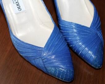 Something Blue Wedding Shoes Vintage Evan Picone Snake Skin Leather Dress Shoes Size 8 Shoes Retro High Heels Pumps Stiletto Women's Vintage