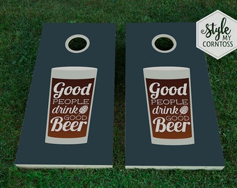 Good People Drink Good Beer | Cornhole Set | Brew | Hops |  Groom | Party Game | Manly | Masculine | Guys | Bachelor Party | For Him | Baggo