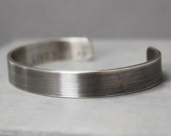 Mens Silver Cuff, Oxidized Silver Cuff, Wide Silver Cuff, Hand Stamped Jewelry, Personalized Jewelry, Jewelry for Men, Mens Custom Silver