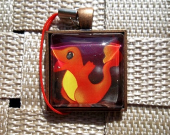 Charmander Glass Pendant made from Trading Cards