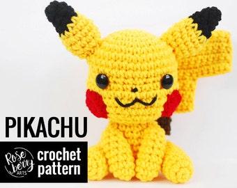 Pikachu Crochet Pattern - Pokemon - Inspired - Instant Download - Amigurumi Plush Doll CROCHET PATTERN ONLY