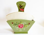 Rustic German Vintage Wooden Coffee Filter Holder with Handpainted Traditional Bauernmalerei, Rustic Folk Art Home Decor
