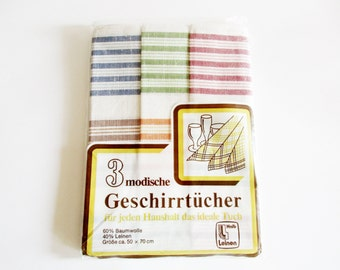 Set of 3 Pieces German Vintage Half-Linen Kitchen Dish Towels with Stripes from the 70ies  / new and unused