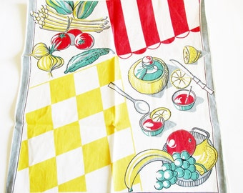 Vintage Printed Iconic Retro Dish Towel with Vintage Vegetables, Instant Retro Home Decor, Wall Hanging