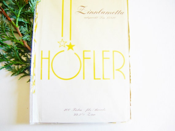 German Vintage Christmas Zinnlametta Tin Tinsel Lametta Icicles GOLDEN Color Christmas Tree Decor
