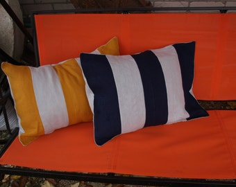"""Stripped Pillow Cover Mustard Yellow - Navy Blue - Light Grey Colored Natural Linen 16 1/2""""x23""""Set of 2 Washed"""