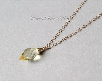 Gemstone Necklace, Lemon Quartz Faceted Dew Drop Briolette, Gold-filled Chain, Gold-filled Wire Wrapped. Dainty. Gift. Everyday. N194b.