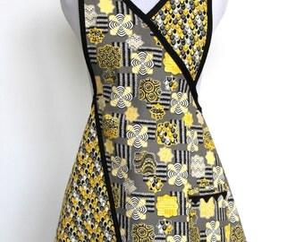 Retro Inspired Fun Flirty Yellow Black White Cotton Apron with one pocket - Clara Apron