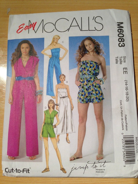 McCalls Sewing Pattern 6083 Misses Jumpsuit in Three Lengths and Sash Size 14-20