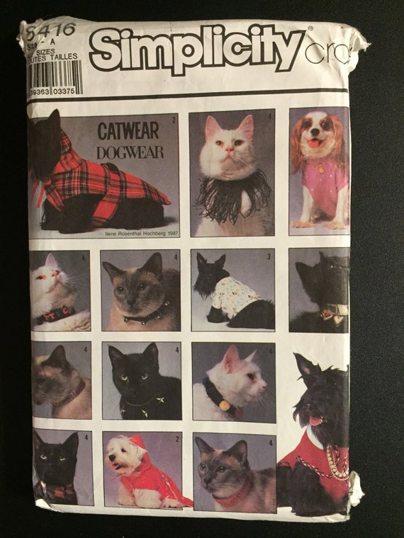Simplicity Sewing Pattern 80s 8416 Dog Coat and T-Shit and Decorative Cat Collars Size S-L