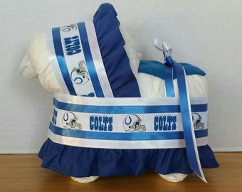 Indianapolis football boy diaper bassinet baby shower gift table decoration centerpiece