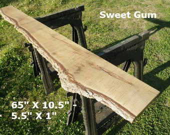 Live Edge Sweet Gun Wood Slab Finished DIY Floating Shelf, Natural Edge Shelving, Side Table, Foyer Table, Console Table, Coffee Table 4541
