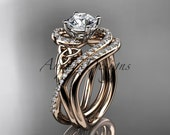 14kt rose gold diamond celtic trinity knot wedding ring, engagement set CT7320S