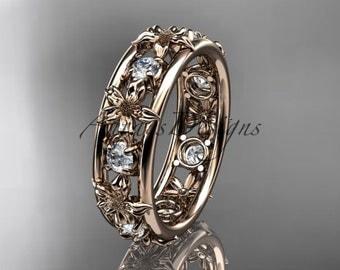 14kt rose gold diamond leaf  wedding ring,engagement ring, wedding band. ADLR160 nature inspired jewelry