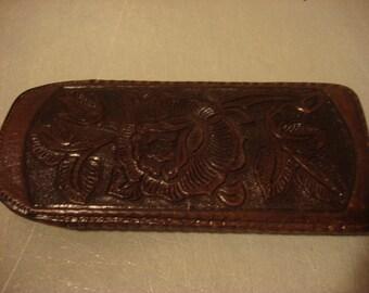 Vintage Chocolate Brown Leather Vintage Eyeglass Case