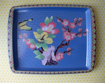 Daher Tray Decorated Blue Tin Ware Japan England 1970s Dorm Decor Home Yellow Butterfly with Cherry Tree Design Small Drink Metal