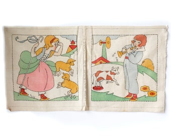 Vtg Vogue Nursery Rhyme Quilt Block Set