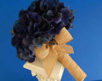 Hydrangea Wedding Bouquet- Blue Bridal Bouquet - Boutonniere- Customized To Your Wedding Colors- SOLD