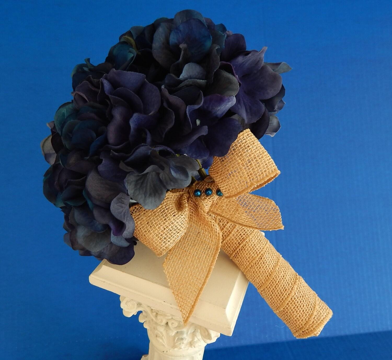 Hydrangea Wedding Bouquet Blue Bridal Bouquet Boutonniere Blue Hydrangea Boutonniere