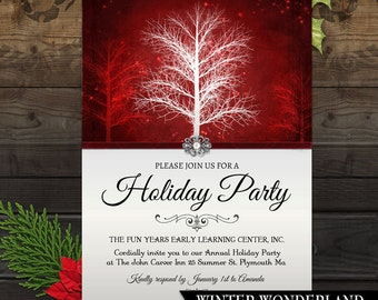 Holiday Party Invitation, Winter Invite, Winter Wonderland, Festive holiday Party Invite, Printable Party Invitation, Rustic Tree, Red
