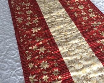 Christmas Table Runner Quilt - Red - Gold -Cream